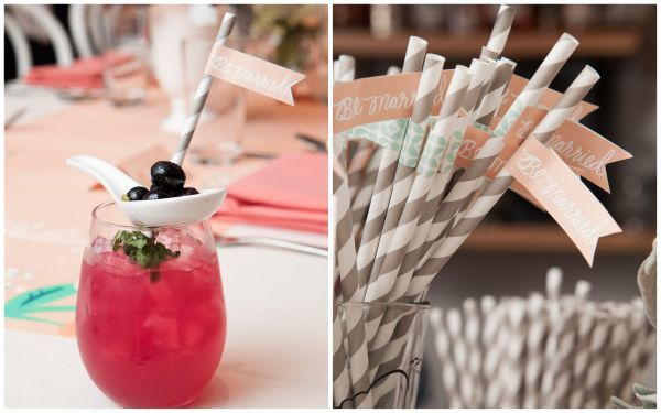 Spruce the party up with blueberry cocktails, grey striped straws, and peach coloured flags.