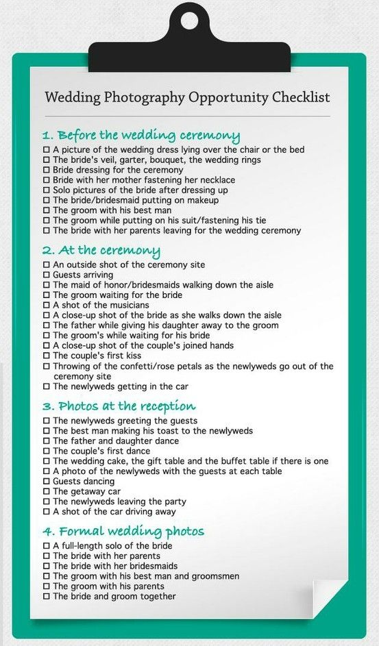 Wedding photograpy opportunity checklist the big day for Wedding shot list