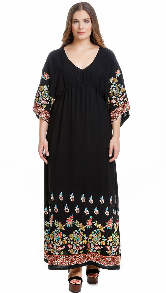 Free Spirit • The flowing maxi is fashion's new bohemia! Find the dress [code: 641.7199] online and in stores! #AutumnWinter2015 #matfashion #newSeason #AvailableNow #plussizefashion #realsize #fashion #embroidery #bohemian #floral #chic #dress #detail #embroidered #inspiration #ootd #fashionista