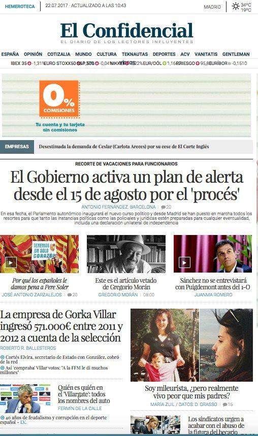 Los periódicos digitales: El pala que va a activar el Gobierno frente al proceso independentismo