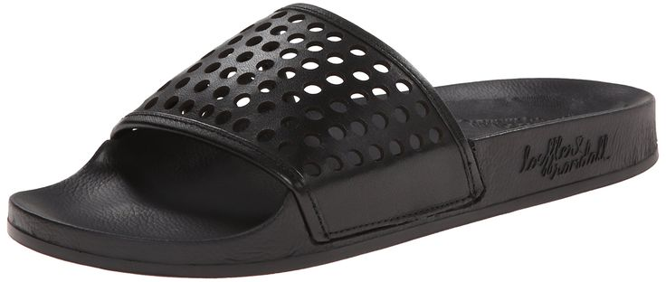 LOEFFLER RANDALL Women's Cat Pool Slide Sandal, Black, 8 M US. Slide sandal featuring fold-over band with hook-and-loop closure and logoed midsole.