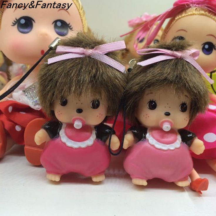 Fancy&Fantasy kawaii rhinestone monchichi keychain doll pendant car key ring  Women Key Holder Bag Accessories
