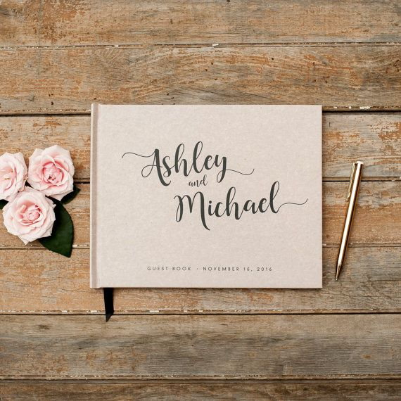 Wedding Guest Book horizontal landscape guestbook sign in book photo booth hardcover personalized names wedding planner book rustic kraft