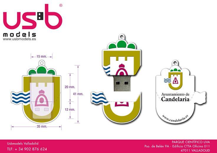 El ayuntamiento de Candelaria nos pidió una propuesta para convertir su logotipo en pendrive personalizado. Éste fue el resultado, ¿a que es muy chulo? | USBModels
