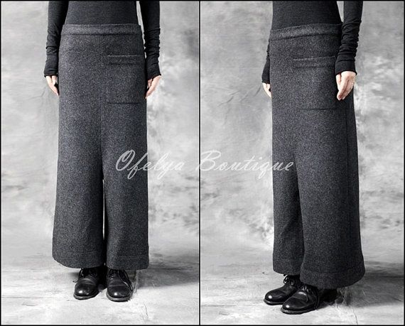 Original Designer Red and Black Wool Culottes Wide Leg Japanese Pants Low Crotch 123 usd etsy