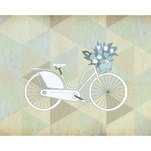 Plakát v dřevěném rámu Blue Bike, 38x28 cm