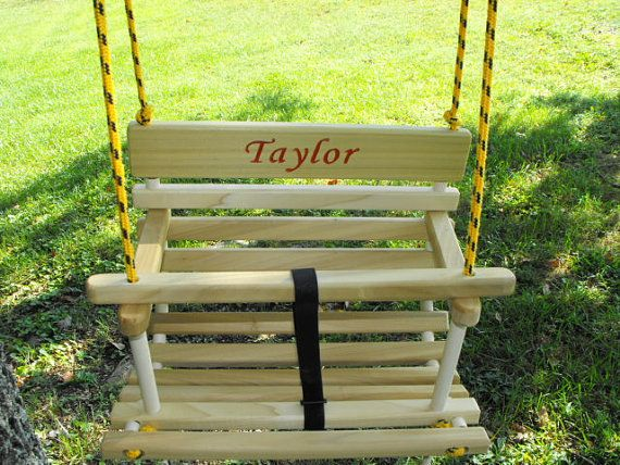 Toddler swing childs swing personalized handcrafted wood tree swing on Etsy, $46.00