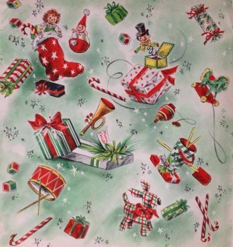 Vintage Christmas wrapping paper for kids