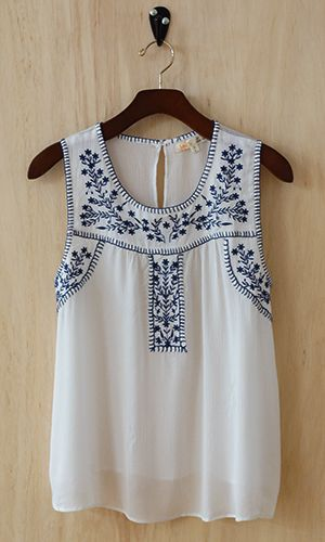 I love anything embroidered, anything navy and white. This blouse is so pretty. I wonder if it would be a little boxy on.