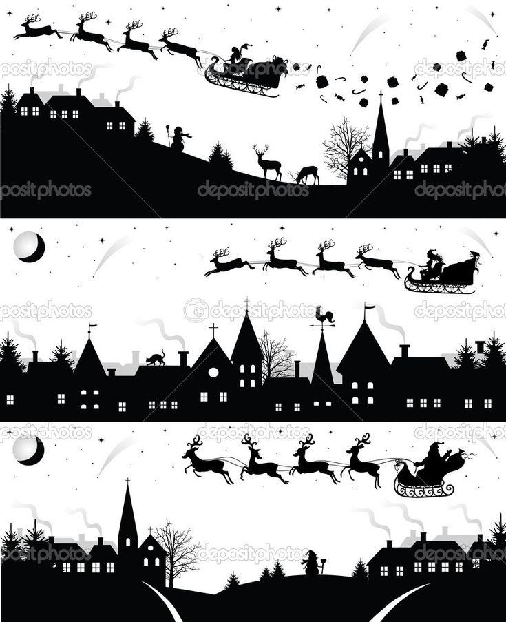 Herunterladen - Weihnachten-Silhouetten — Stockillustration #14836207