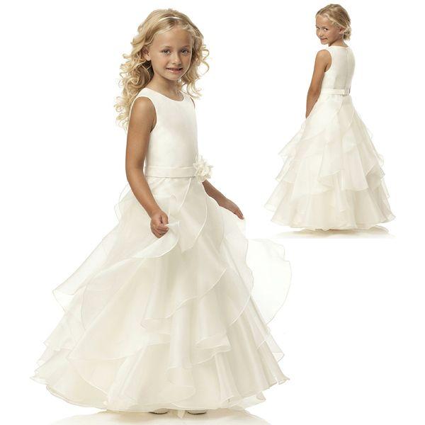 Gratis verzending nieuwe aankomst een  een lijn ivoor organza tiered kerst eerste communie jurken w408 in  van  op Aliexpress.com