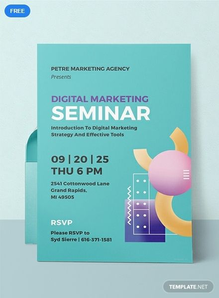 A modern and innovative invitation template for your upcoming seminar. Whether academic or business related