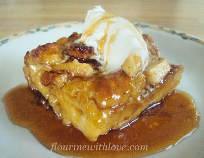 Flour Me With Love: Caramel Apple Bread Pudding ~ my whole family would LOVE this dessert. That caramel sauce is calling to me!