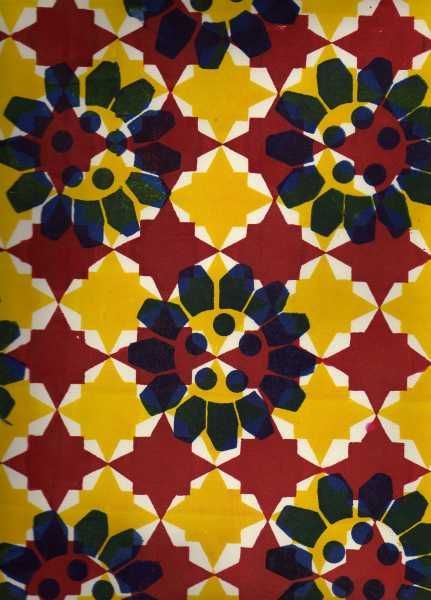 mexican tile panel design - Clare Burchell screen print on paper. In this design she has used only primary colours showing her use of vibrant colour palette. She has also repeated the shapes, tones, colours and motif, creating a nice pattern.
