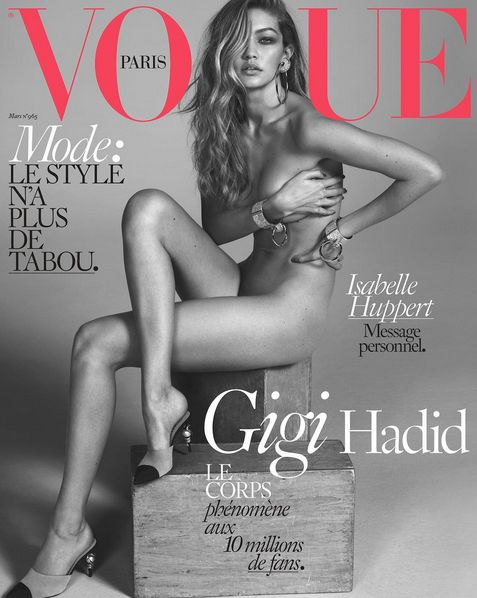 Gigi Hadid wears only Chanel heels on the cover of Vogue Paris