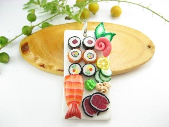 Sushi Necklace food jewelry by beadpassion on Etsy