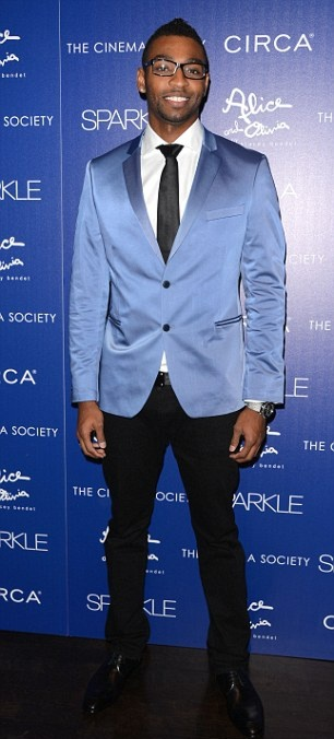 """Team USA Olympic swimmer, Cullen Jones, who won an individual Silver medal on the men's 50m freestyle and with his teammates on the 4x100m freestyle relay, looked dapper in a sky blue jacket, white shirt, and black tie and pants, at the Premiere party of the movie """"Sparkle"""" held at the Tribeca Grand Hotel in New York City."""