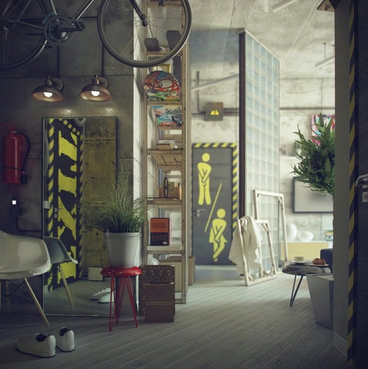 Loft Style Living Visualizations: Interior Design, Bachelor Pad, Bathroom Doors, Interiors, Maxim Zhukov, Decorating Ideas, Industrial Style, Industrial Loft