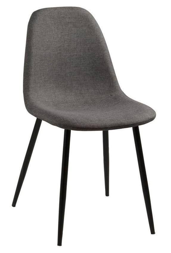 Selma Spisebordsstol - Grå - Enkel og smuk spisebordsstol i grå. Spisebordsstolen er fremstillet i gråt stof og har et sort metalstel. En perfekt spisebordsstol til det minimalistiske hjem.