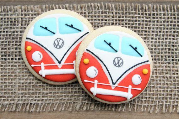 VW Bus / Volkswagen Bus / Hippie Bus Sugar Cookies - 1 dozen