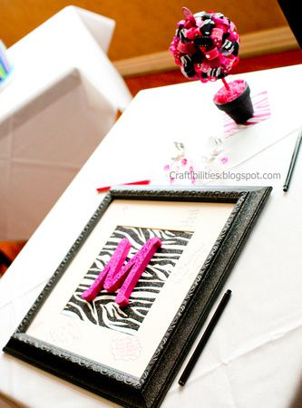 Guest Book Picture Frame - Tutorial - ZEBRA and HOT PINK!