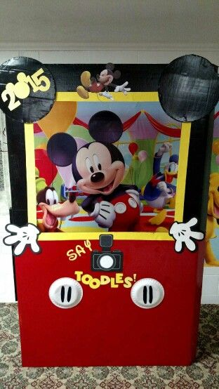 Mickey photo booth made by husband and me!!