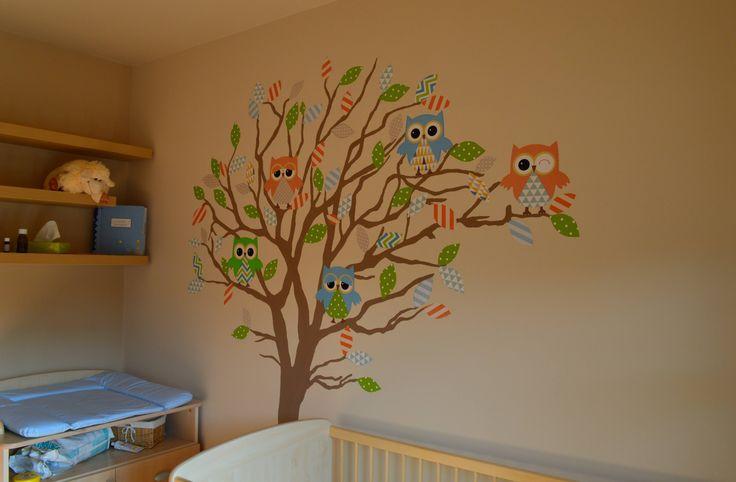 Bálint babaszobája Bagolyfa faldekor Baba szoba Baby room Owl wall decor