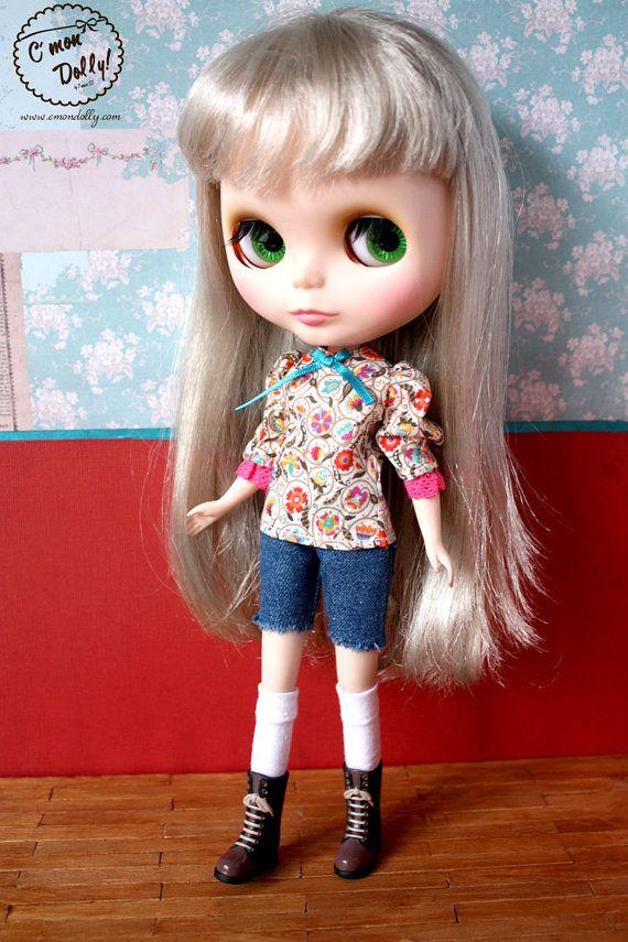 Blythe Momoko Pullip vintage peasant blouse Liberty by cmondolly