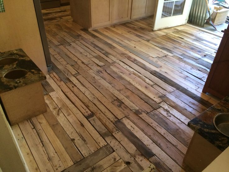 For The Dining Room Pre Hand Planing Pallet Wood Floor