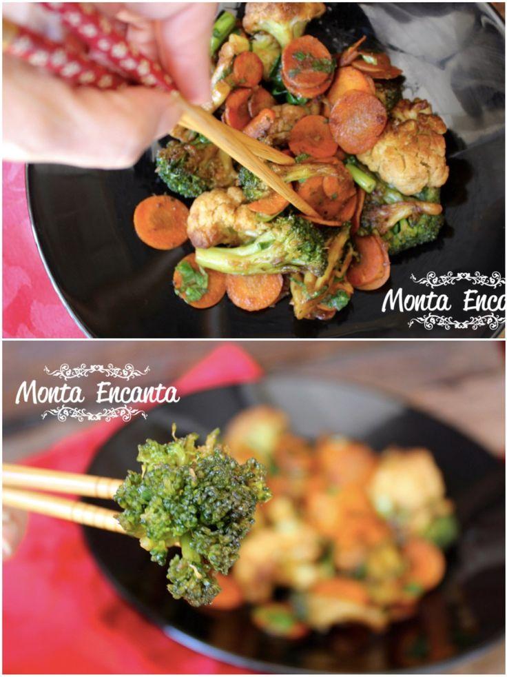 Legumes com toque oriental,  leva cenoura, couve-flor e brócolis. A cenoura  empresta seu adocicado, ao prato, que contrabalanceia com o salgado do shoyo e pode ser substituído por qualquer outro legume da geladeira, repolho, acelga japonesa, abobrinha ...