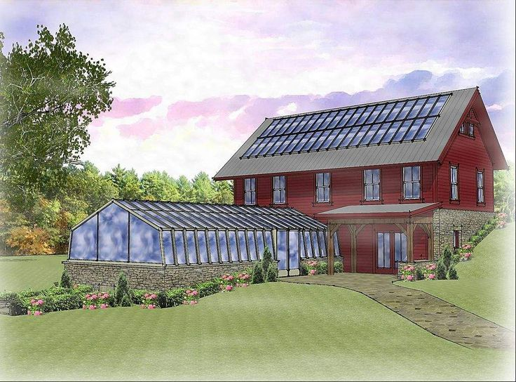 Barn with solar panels, for self sufficiency. Attached greenhouse isn't a bad idea, either.