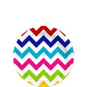 Bright Rainbow Chevron Paper Dessert Plates 8ct