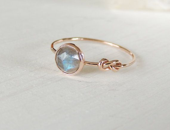 BEAUT! Labradorite Ring Rose Gold Ring Infinity Knot Ring by Luxuring - ETSY