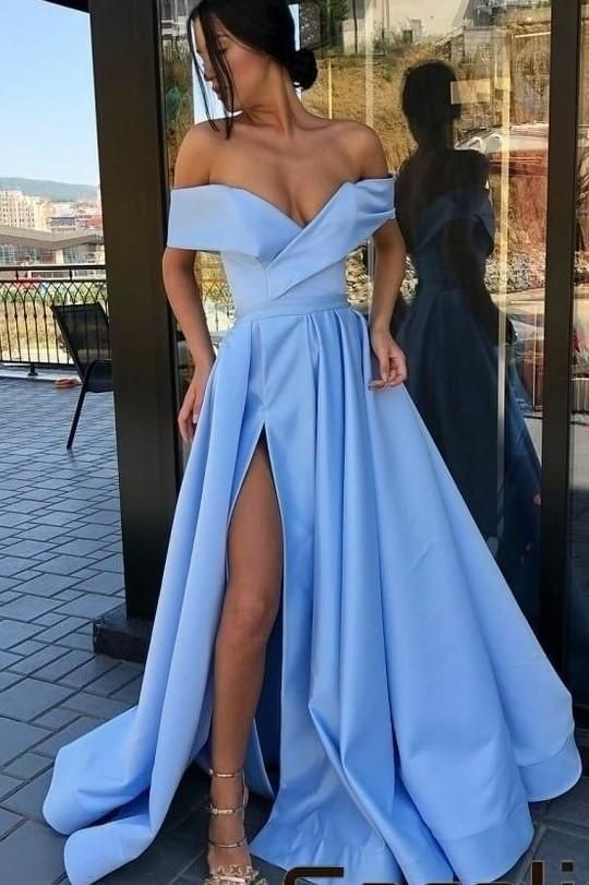 Aqua Blue Satin Long Prom Party Dresses with Off-the-shoulder in ... 5a1c7ed14
