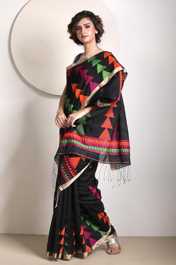 Pin By Chandru On Architecture: Black Blended Cotton Saree With Woven Design