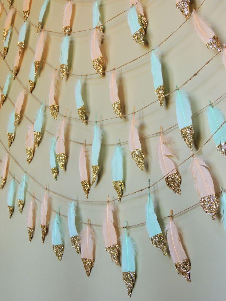 Peach Mint Glitter Dipped Feather Banner Garland or single feathers Boho Decor Nursery Baby Shower Birthday Decor Feather Garland Tribal by JadeandJoStudio on Etsy