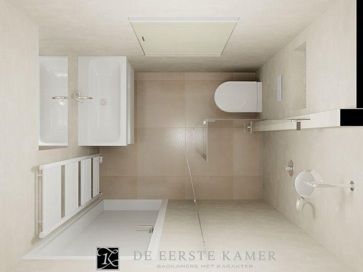 (De Eerste Kamer) Een kleine badkamer met een ruimtelijk karakter. Licht en sfeervol! Meer foto's van onze badkamers vindt u op www.eerstekamerbadkamers.nl