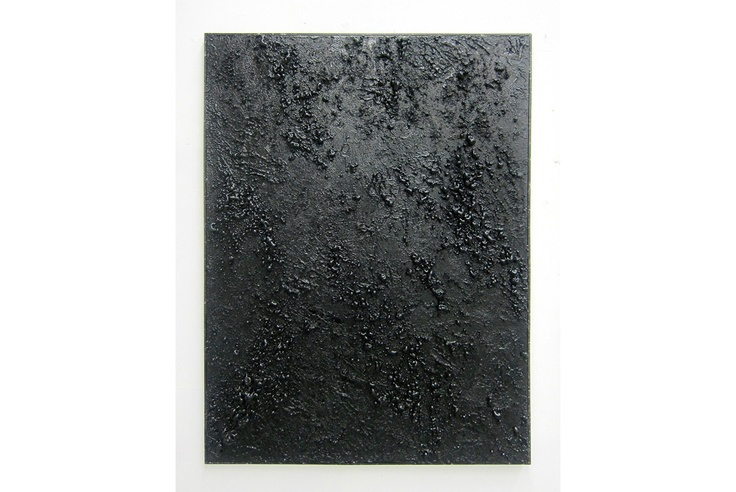 Roman Liska, Untitled, 2013, various texture gels, expanding foam, spray paint on canvas on stretcher, xerox copy, artist frame, 48 x 35 in (122 x 91 cm).