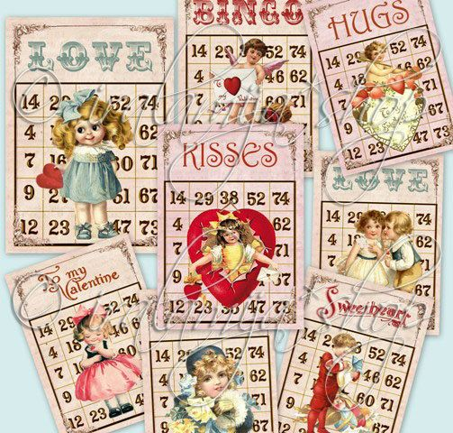 new valentine bingo cards collage digital images by iralamijashop 450 - Valentine Bingo Cards