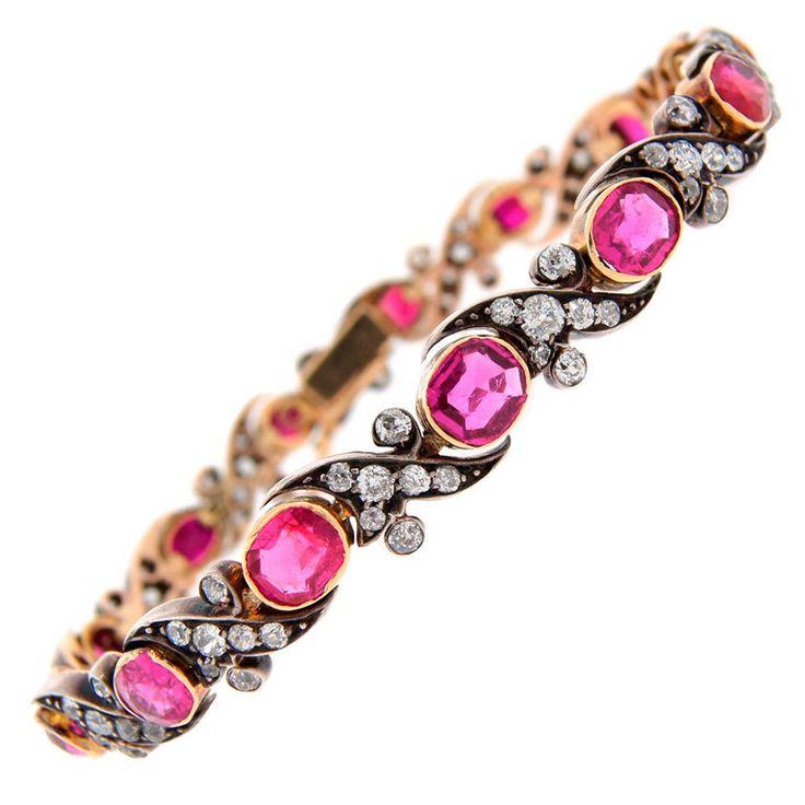 Victorian Ruby Diamond Silver Gold Bracelet