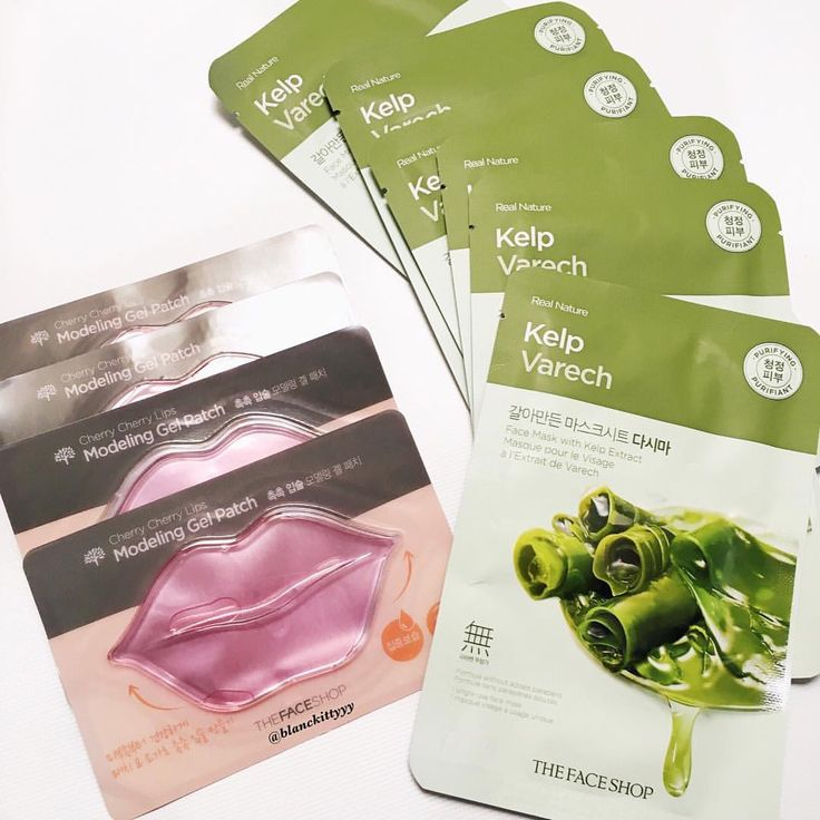 The Face Shop Kelp Sheetmask and Cherry Cherry Line Modeling Gel Patch