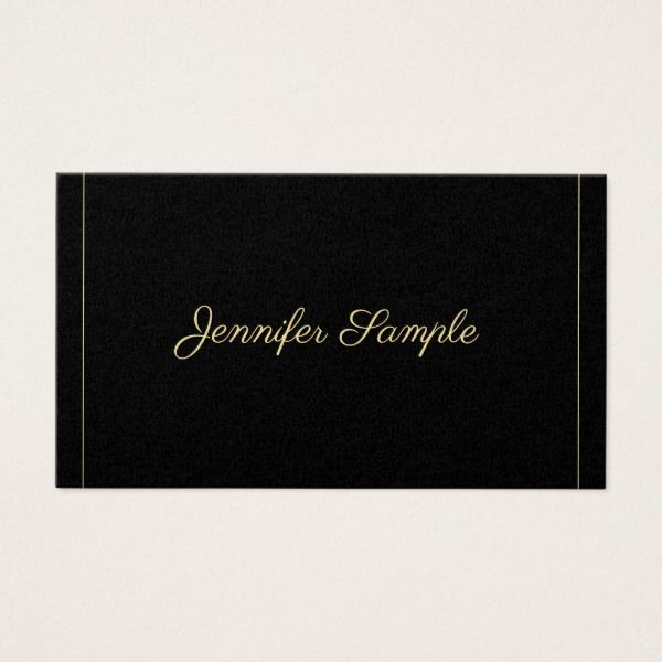 Elegant Gold Calligraphy Black Trendy Plain Luxury Business Card Custom Legal Branding Office Products and Gifts #legal #lawyer #solicitor #law