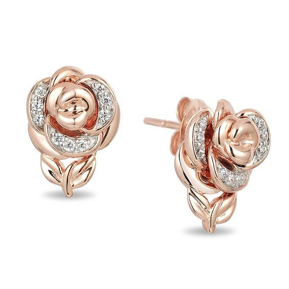 Enchanted Disney Belle 1/15 CT. T.w. Diamond Rose Stud Earrings in 10K Rose Gold