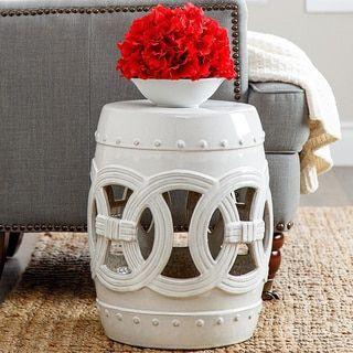 ABBYSON LIVING Moroccan White Ceramic Garden Stool - 16811335 - Overstock.com Shopping - Great Deals on Abbyson Living Garden Accents