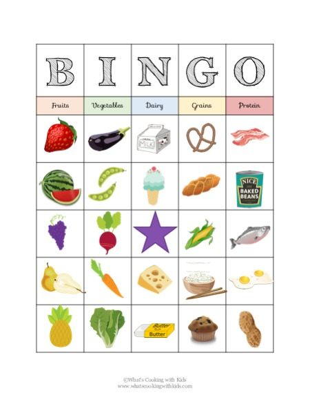 Food Group Bingo Nutrition Activity For Kids Them For