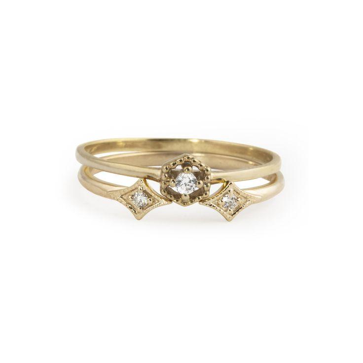 Hexagon Diamond Ring & Double Star Diamond Ring Set – Envero Jewelry