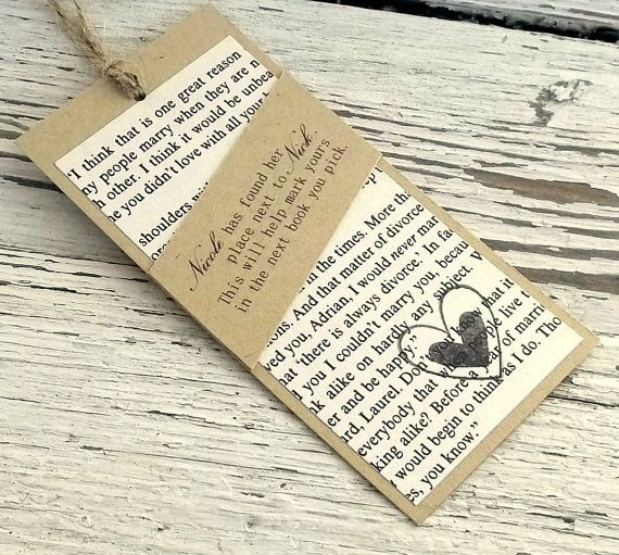 Custom bookmark, Wedding favor, Shower favor, Book theme, Library theme, Reused old book, Personalized text recycled set of 20