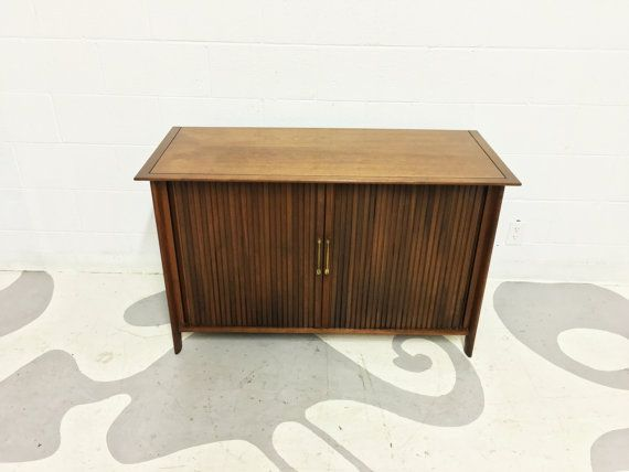 mid century modern media cabinet in walnut with by dsartereno