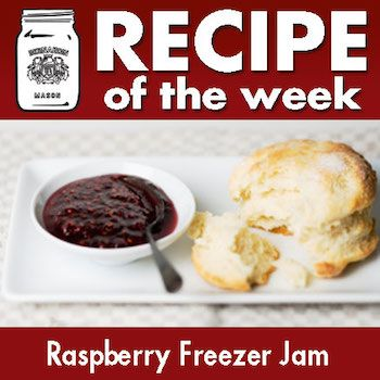 Easy as Pie! Or should we say jam?  Simply crush, stir, and freeze! That's all it takes to make this Raspberry Freezer Jam!  For Full Recipe details visit Bernardin.ca
