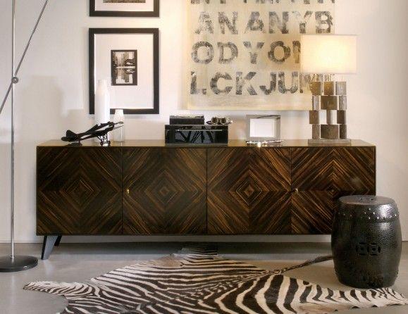 Michel Medio Luxury Italian Designer Credenza in Makassar with Black Stained Interiors